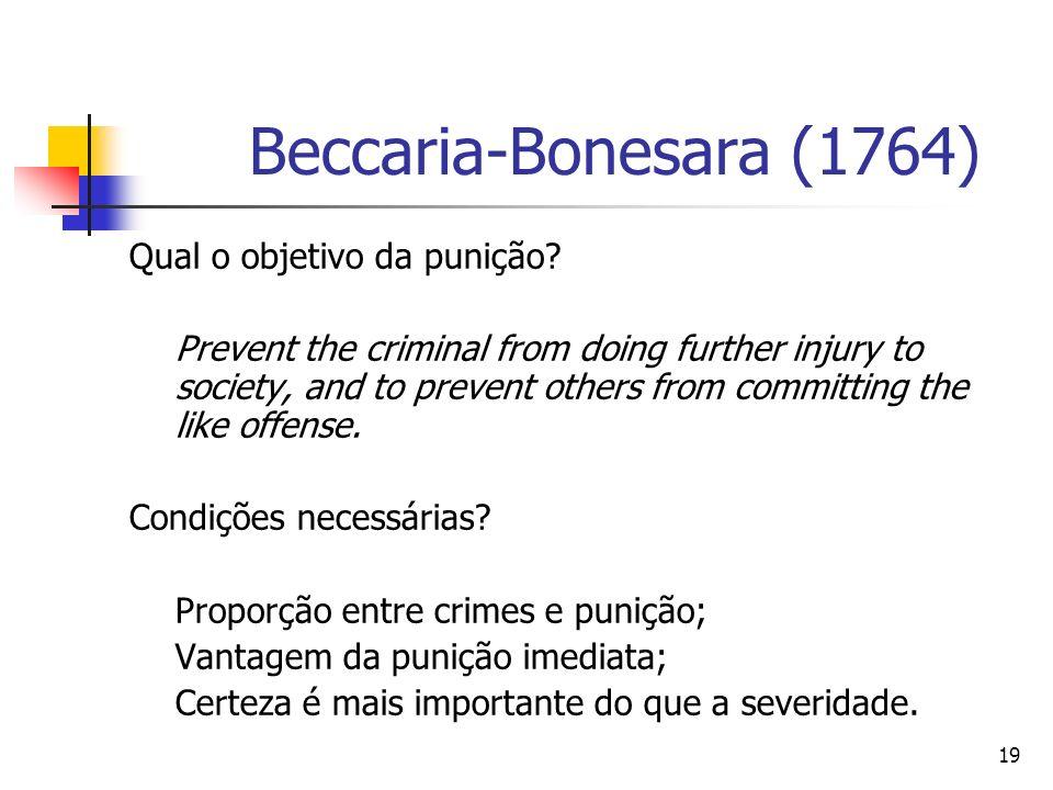Beccaria-Bonesara (1764) Qual o objetivo da punição