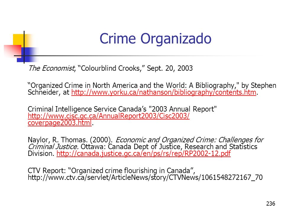Crime Organizado The Economist, Colourblind Crooks, Sept. 20, 2003