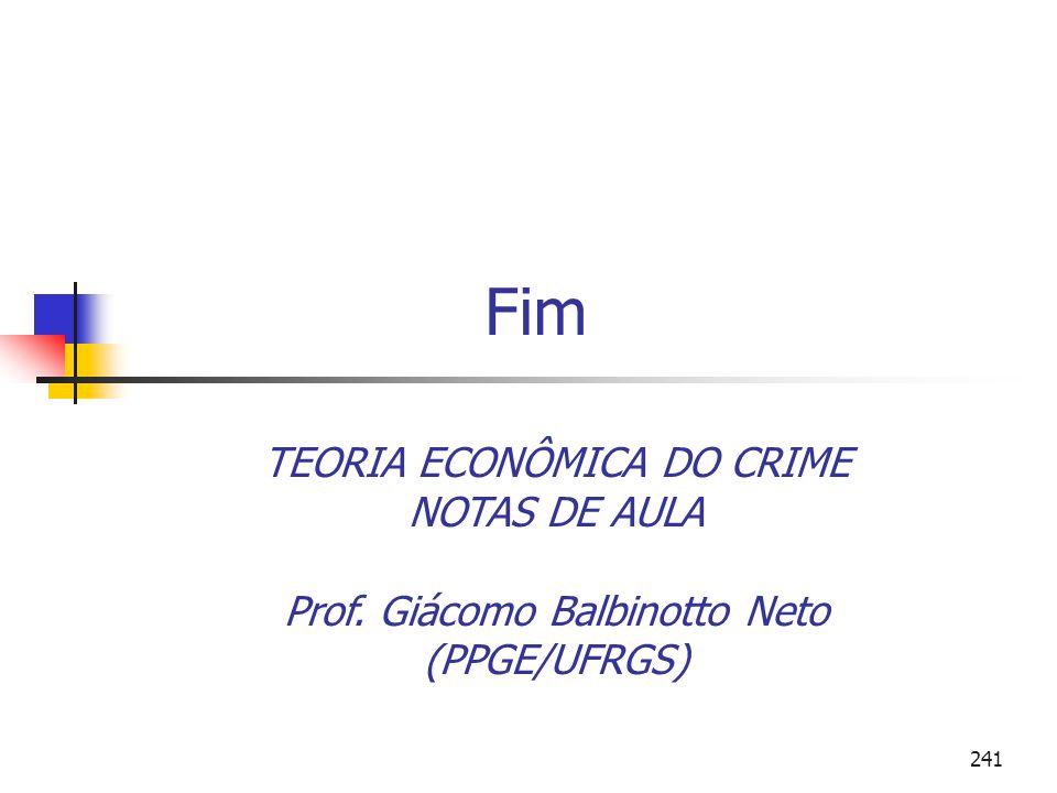 Fim TEORIA ECONÔMICA DO CRIME NOTAS DE AULA Prof. Giácomo Balbinotto Neto (PPGE/UFRGS)