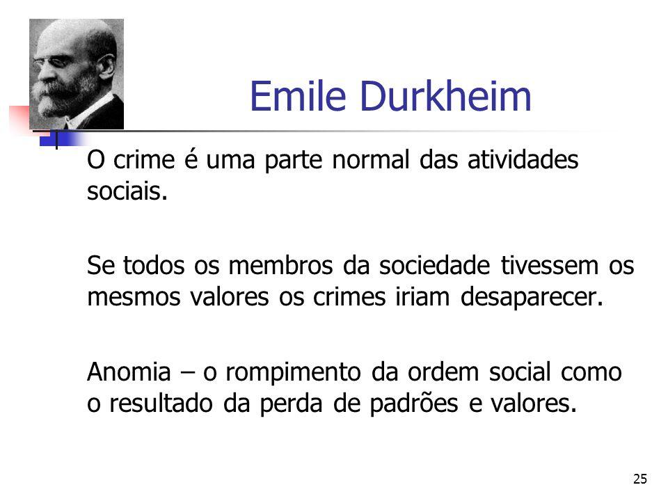 Emile Durkheim O crime é uma parte normal das atividades sociais.