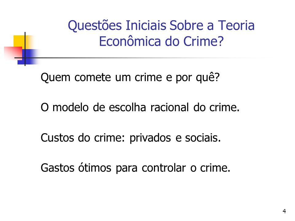 Questões Iniciais Sobre a Teoria Econômica do Crime