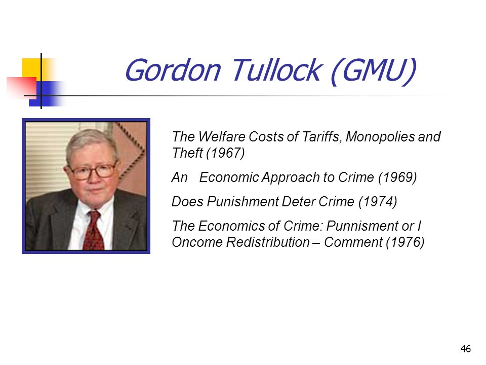 Gordon Tullock (GMU) The Welfare Costs of Tariffs, Monopolies and Theft (1967) An Economic Approach to Crime (1969)