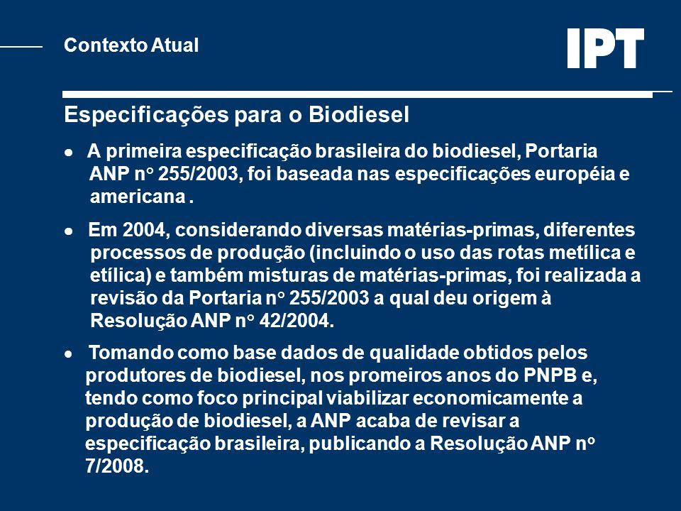 Especificações para o Biodiesel