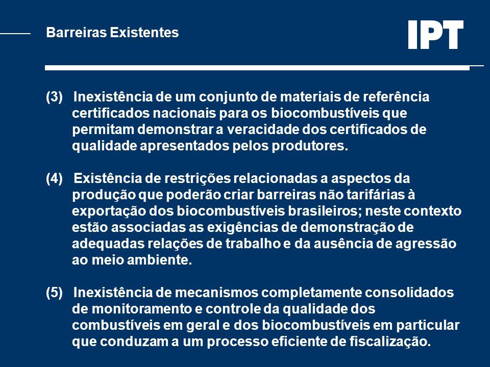 Barreiras Existentes (3) Inexistência de um conjunto de materiais de referência. certificados nacionais para os biocombustíveis que.