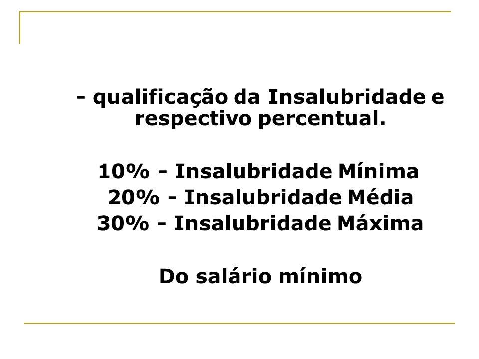 - qualificação da Insalubridade e respectivo percentual.