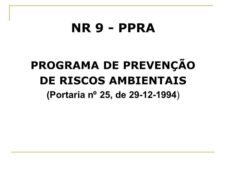 NR 9 - PPRA PROGRAMA DE PREVENÇÃO DE RISCOS AMBIENTAIS
