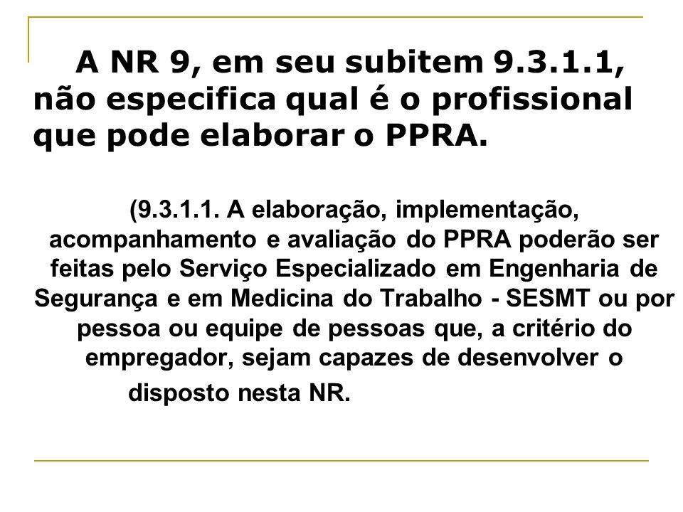 A NR 9, em seu subitem 9.3.1.1, não especifica qual é o profissional que pode elaborar o PPRA.