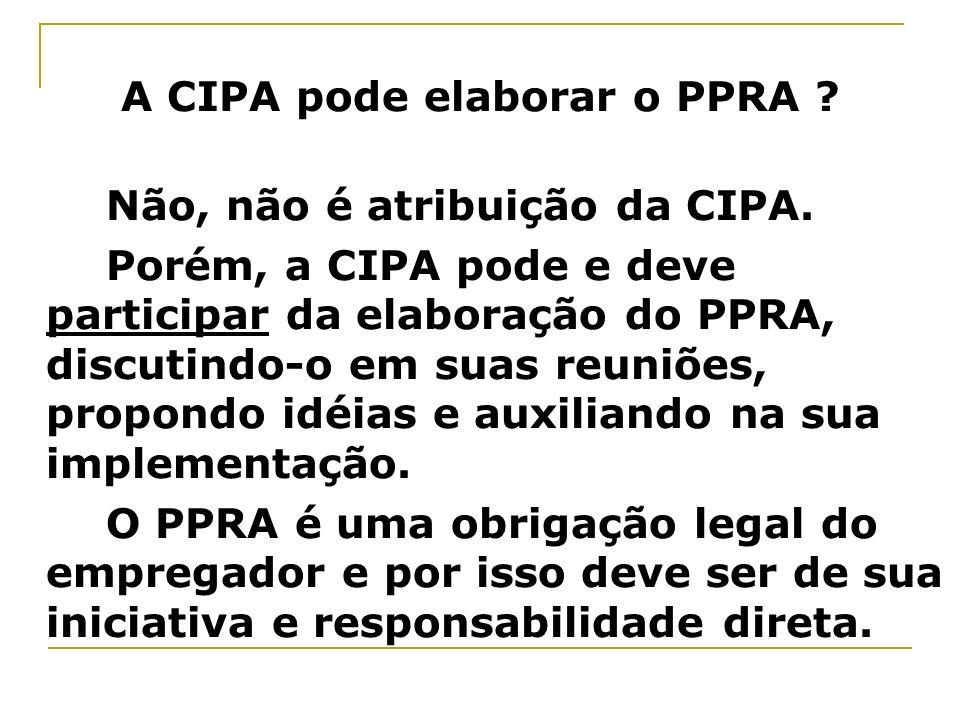 A CIPA pode elaborar o PPRA
