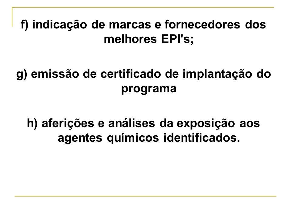 f) indicação de marcas e fornecedores dos melhores EPI s;