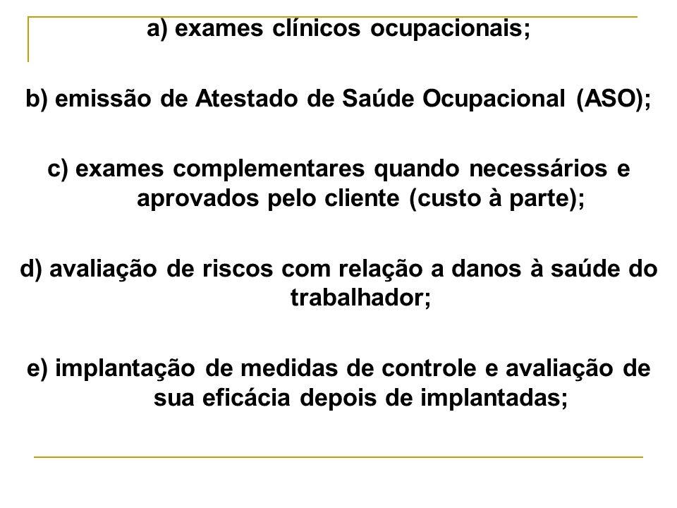 a) exames clínicos ocupacionais;