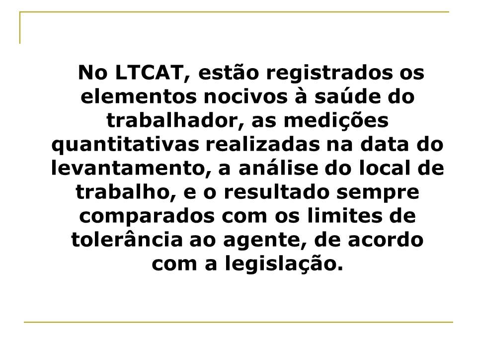 No LTCAT, estão registrados os elementos nocivos à saúde do trabalhador, as medições quantitativas realizadas na data do levantamento, a análise do local de trabalho, e o resultado sempre comparados com os limites de tolerância ao agente, de acordo com a legislação.