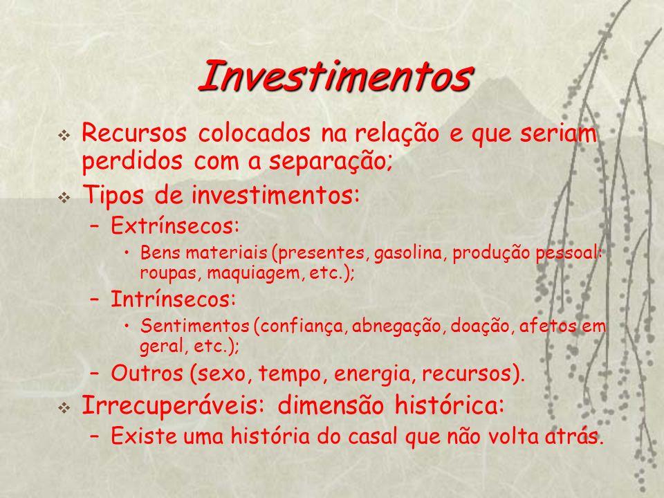 Investimentos Recursos colocados na relação e que seriam perdidos com a separação; Tipos de investimentos: