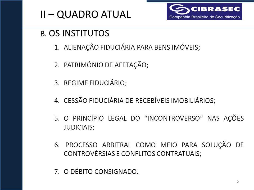 II – QUADRO ATUAL B. OS INSTITUTOS