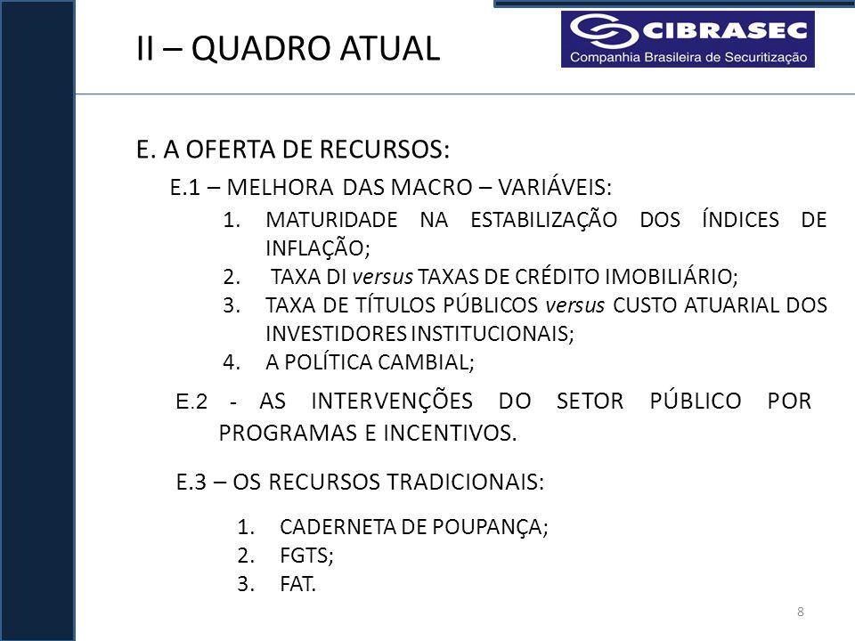 II – QUADRO ATUAL E. A OFERTA DE RECURSOS: