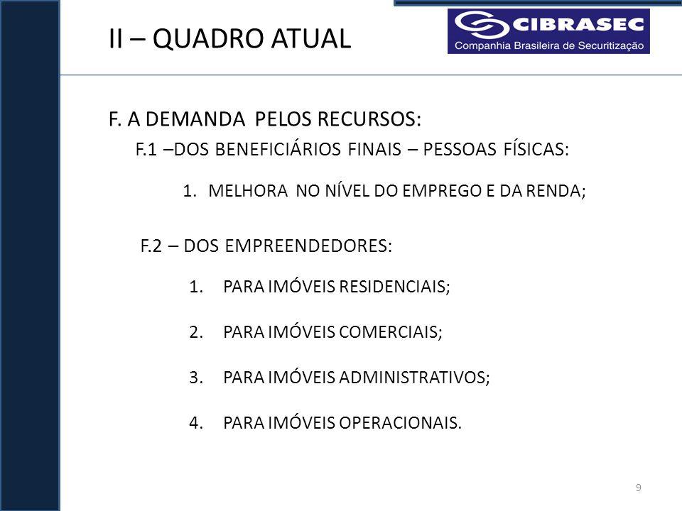 II – QUADRO ATUAL F. A DEMANDA PELOS RECURSOS:
