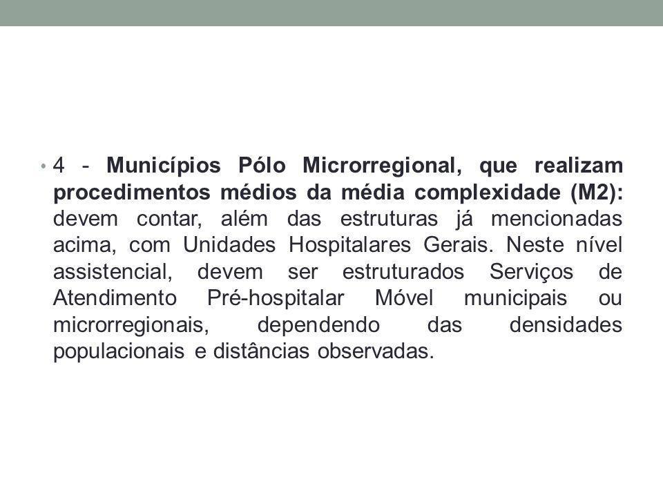 4 - Municípios Pólo Microrregional, que realizam procedimentos médios da média complexidade (M2): devem contar, além das estruturas já mencionadas acima, com Unidades Hospitalares Gerais.