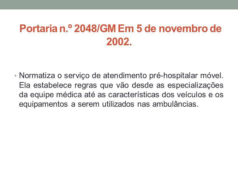 Portaria n.º 2048/GM Em 5 de novembro de 2002.
