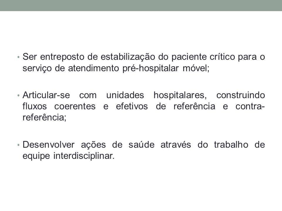 Ser entreposto de estabilização do paciente crítico para o serviço de atendimento pré-hospitalar móvel;