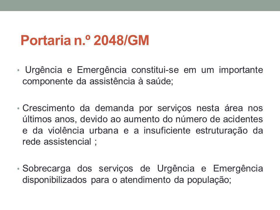 Portaria n.º 2048/GM Urgência e Emergência constitui-se em um importante componente da assistência à saúde;