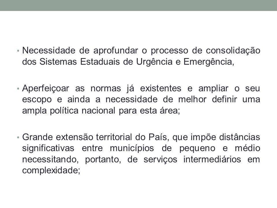Necessidade de aprofundar o processo de consolidação dos Sistemas Estaduais de Urgência e Emergência,