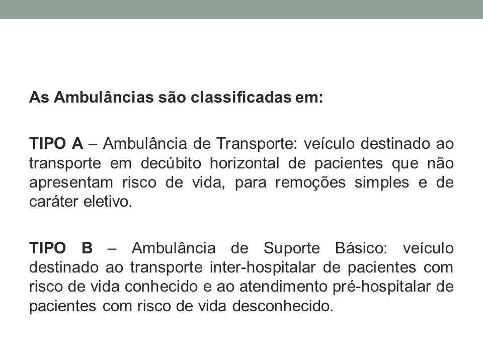 As Ambulâncias são classificadas em: TIPO A – Ambulância de Transporte: veículo destinado ao transporte em decúbito horizontal de pacientes que não apresentam risco de vida, para remoções simples e de caráter eletivo.