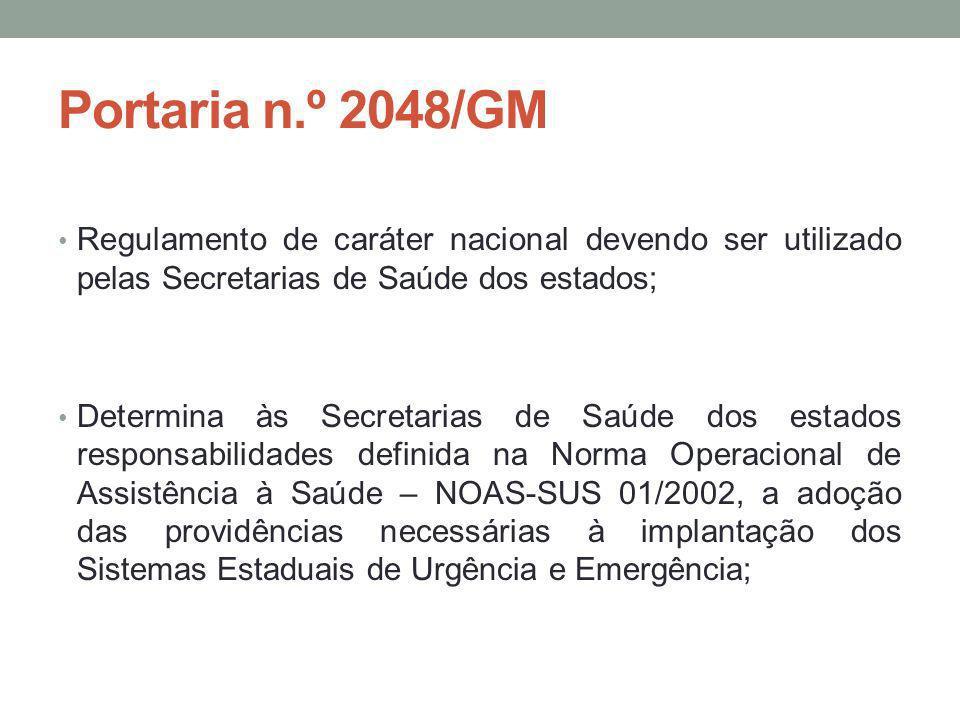 Portaria n.º 2048/GM Regulamento de caráter nacional devendo ser utilizado pelas Secretarias de Saúde dos estados;