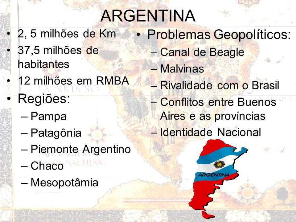 ARGENTINA Problemas Geopolíticos: Regiões: 2, 5 milhões de Km