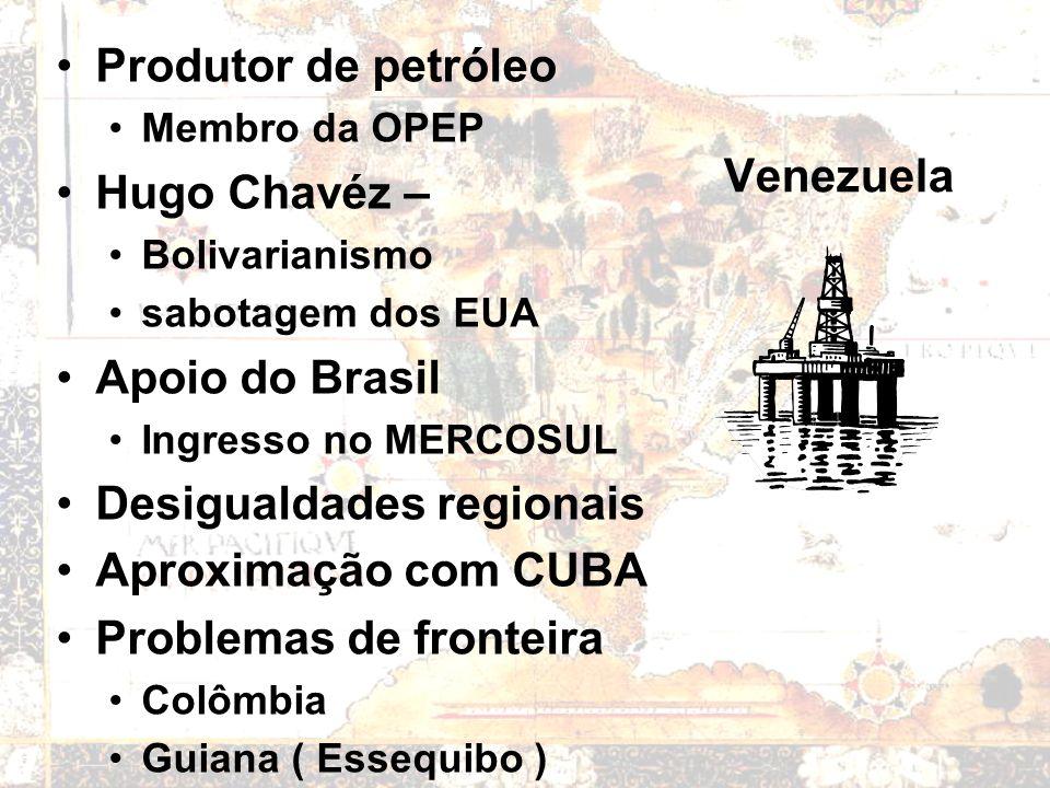 Desigualdades regionais Aproximação com CUBA Problemas de fronteira