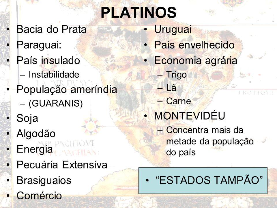 PLATINOS Bacia do Prata Paraguai: País insulado População ameríndia