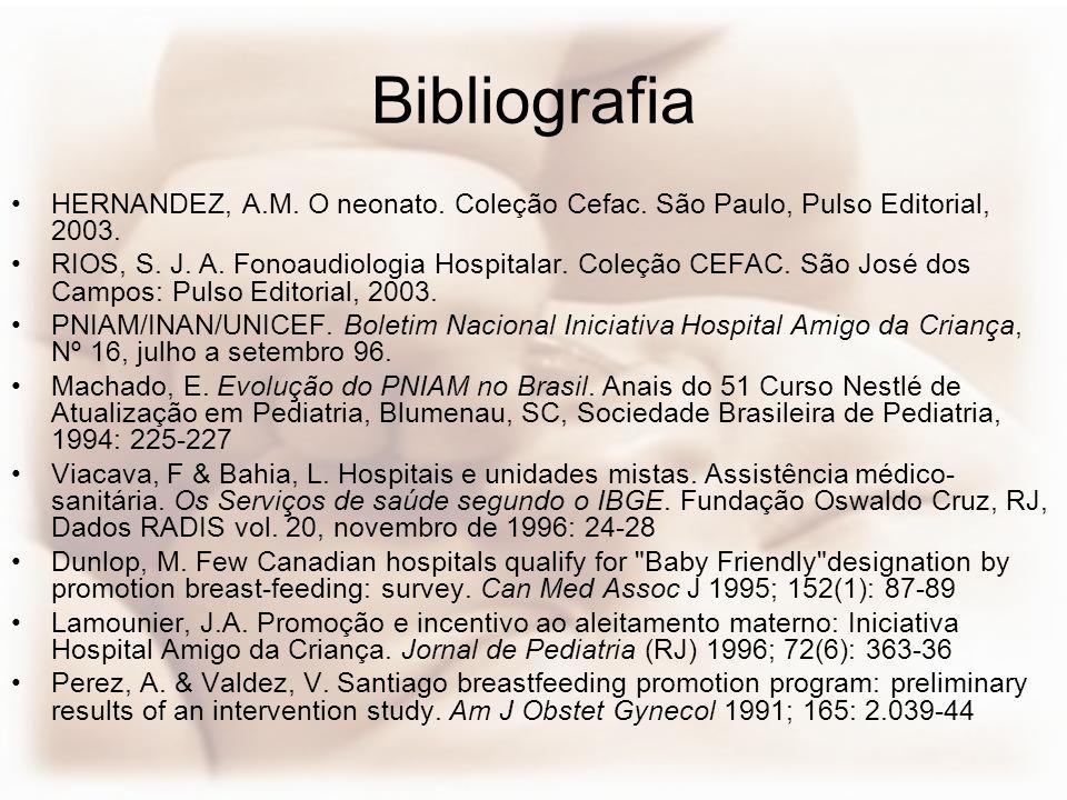Bibliografia HERNANDEZ, A.M. O neonato. Coleção Cefac. São Paulo, Pulso Editorial, 2003.