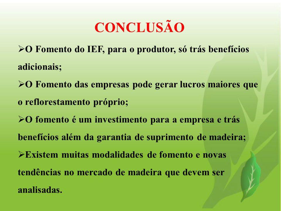 CONCLUSÃO O Fomento do IEF, para o produtor, só trás benefícios adicionais;