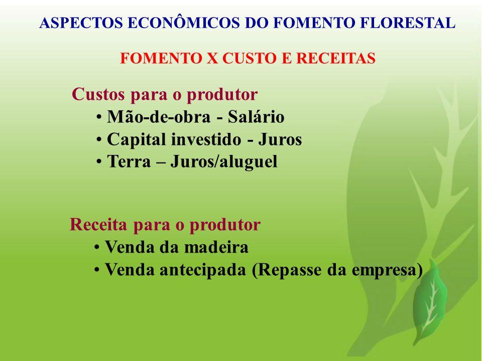ASPECTOS ECONÔMICOS DO FOMENTO FLORESTAL FOMENTO X CUSTO E RECEITAS