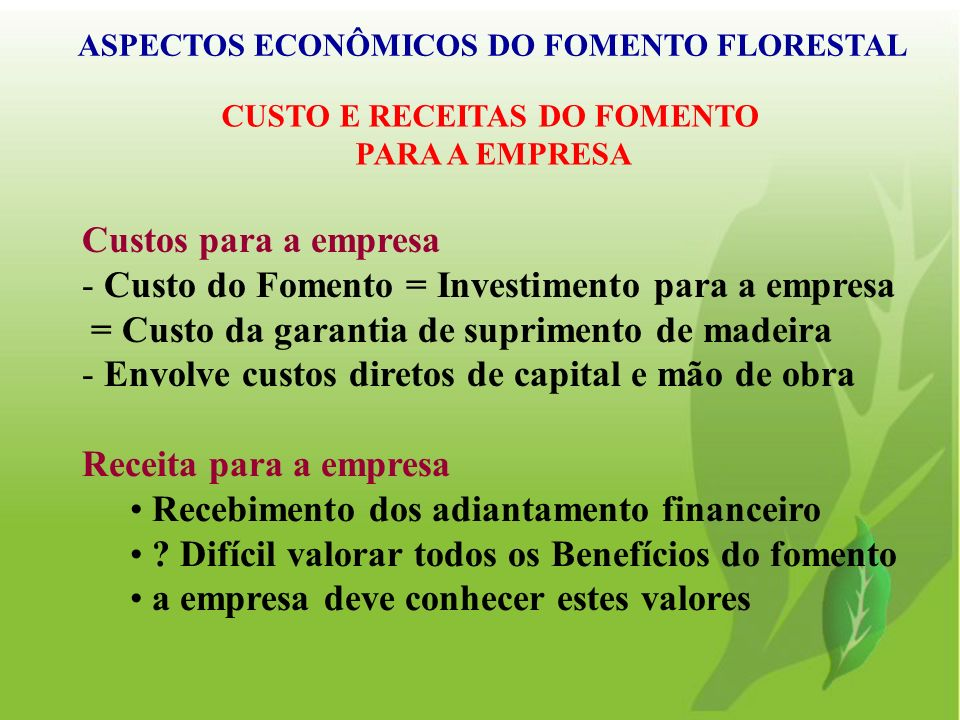 ASPECTOS ECONÔMICOS DO FOMENTO FLORESTAL CUSTO E RECEITAS DO FOMENTO