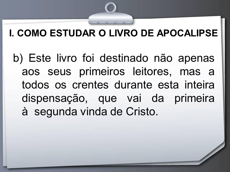 I. COMO ESTUDAR O LIVRO DE APOCALIPSE
