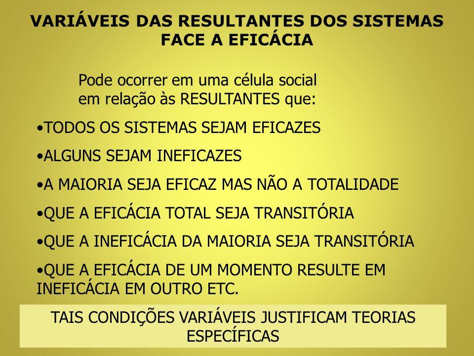 VARIÁVEIS DAS RESULTANTES DOS SISTEMAS FACE A EFICÁCIA