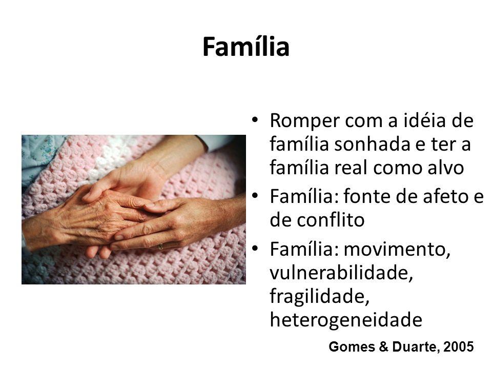 Família Romper com a idéia de família sonhada e ter a família real como alvo. Família: fonte de afeto e de conflito.