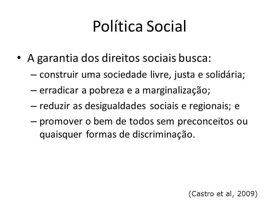 Política Social A garantia dos direitos sociais busca: