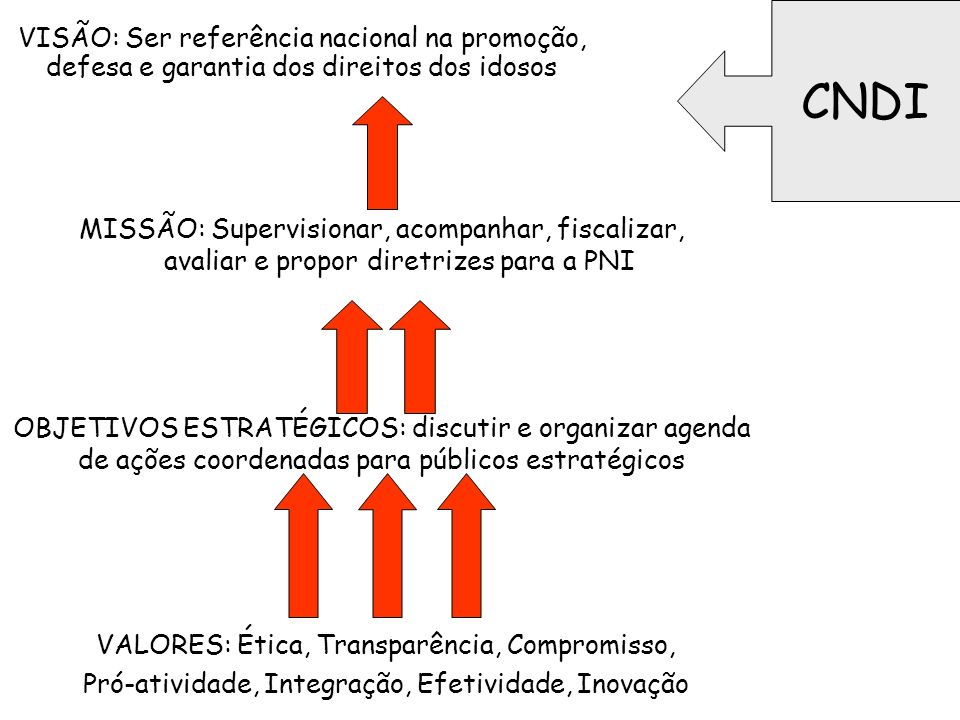 CNDI VISÃO: Ser referência nacional na promoção, defesa e garantia dos direitos dos idosos.