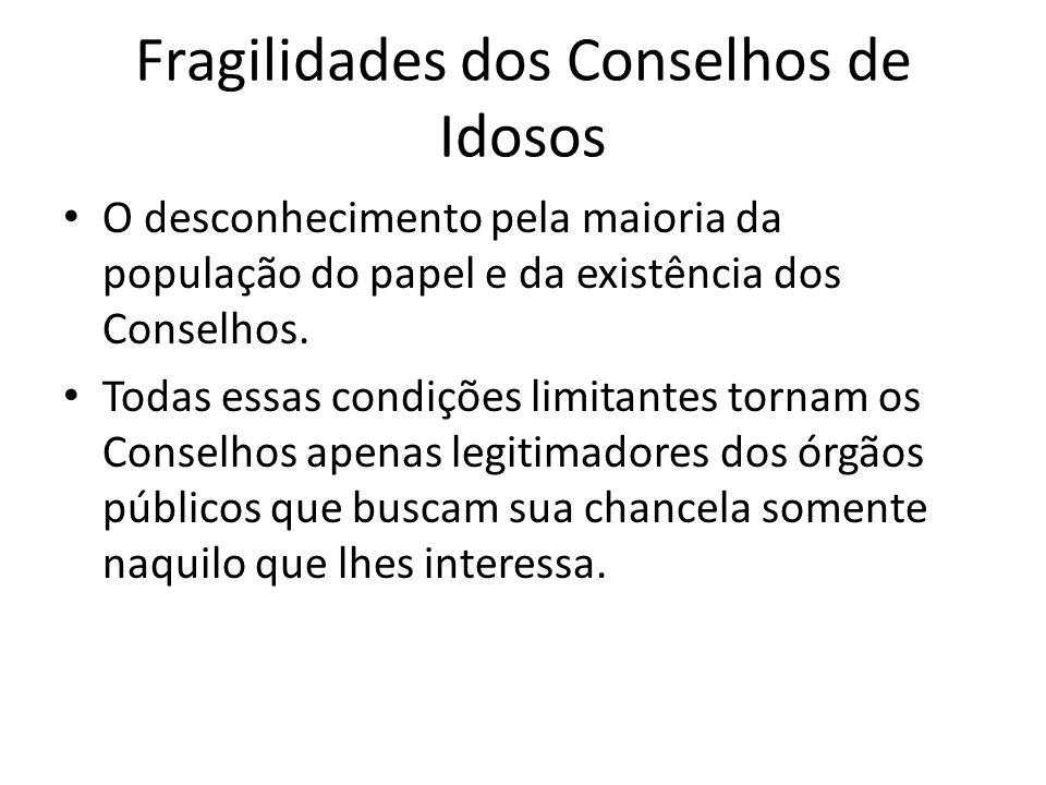 Fragilidades dos Conselhos de Idosos