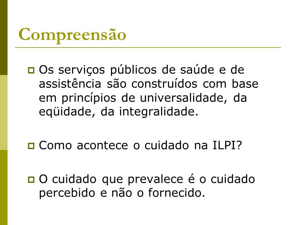 Compreensão Os serviços públicos de saúde e de assistência são construídos com base em princípios de universalidade, da eqüidade, da integralidade.