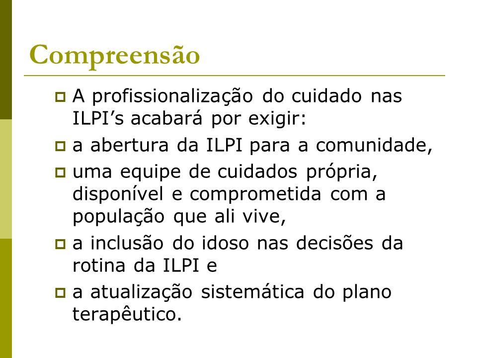 Compreensão A profissionalização do cuidado nas ILPI's acabará por exigir: a abertura da ILPI para a comunidade,
