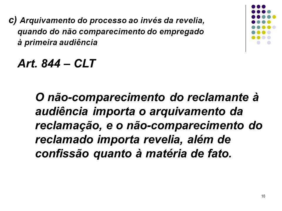 c) Arquivamento do processo ao invés da revelia,