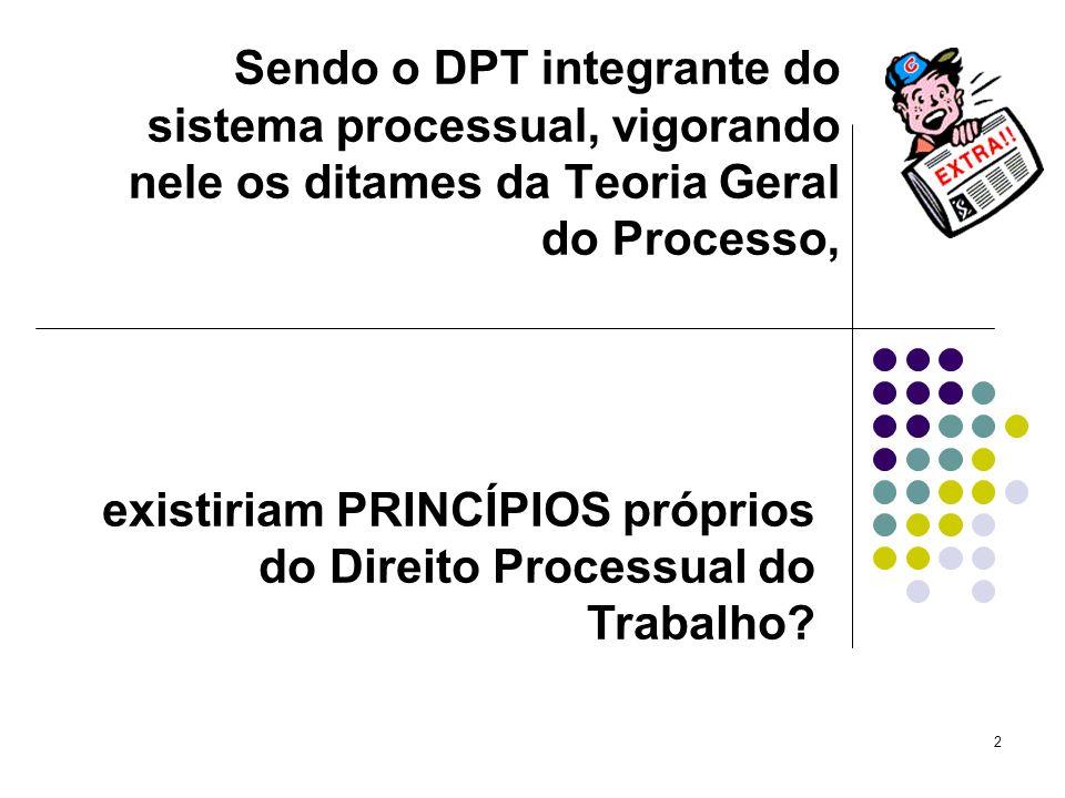 Sendo o DPT integrante do sistema processual, vigorando nele os ditames da Teoria Geral do Processo,
