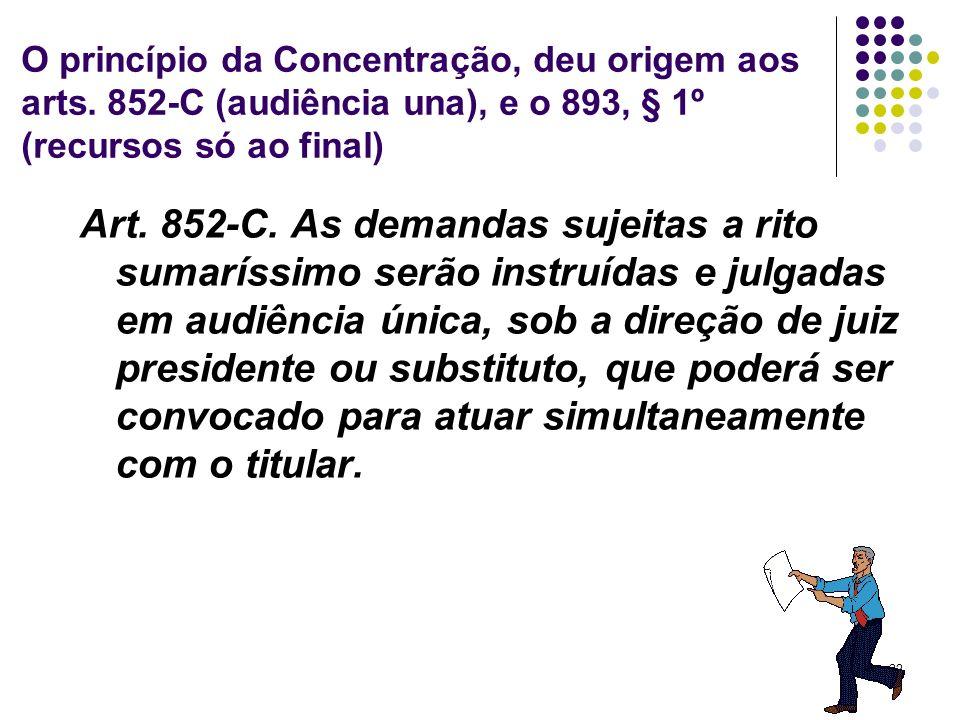 O princípio da Concentração, deu origem aos arts