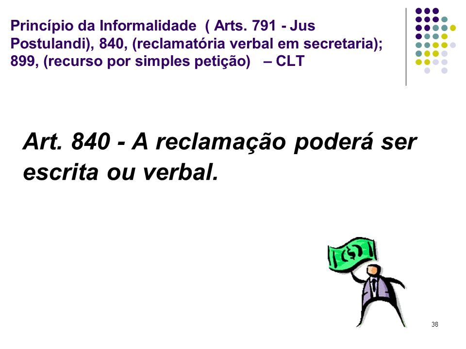 Art. 840 - A reclamação poderá ser escrita ou verbal.