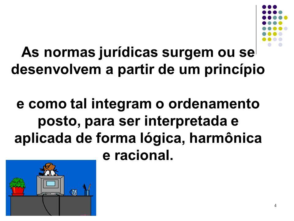 As normas jurídicas surgem ou se desenvolvem a partir de um princípio e como tal integram o ordenamento posto, para ser interpretada e aplicada de forma lógica, harmônica e racional.