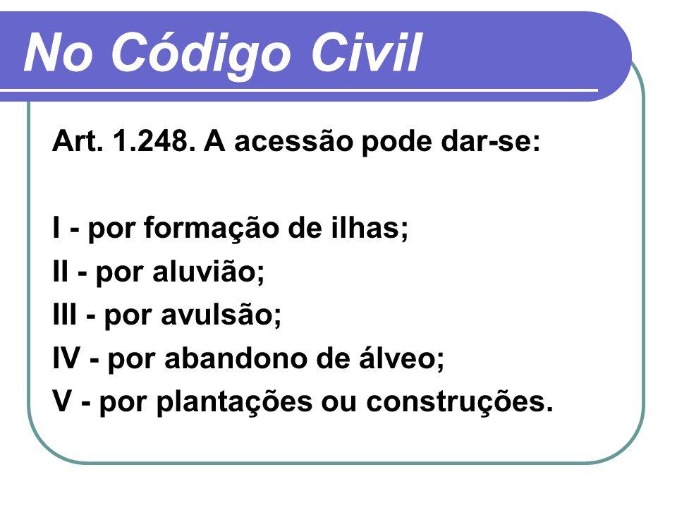 No Código Civil Art. 1.248. A acessão pode dar-se: