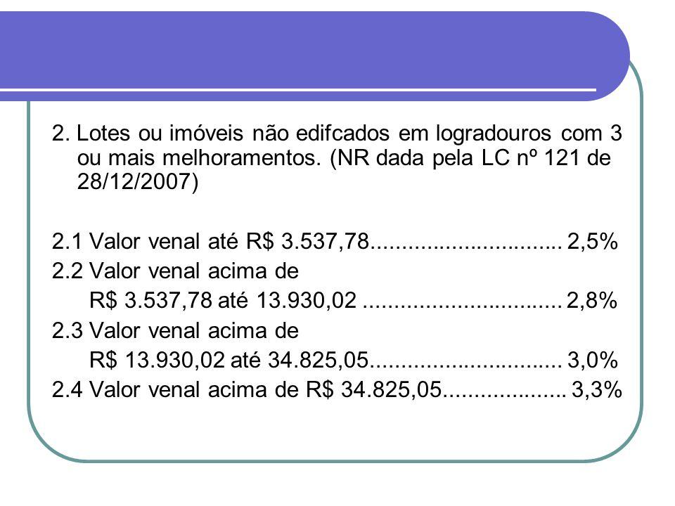 2. Lotes ou imóveis não edifcados em logradouros com 3 ou mais melhoramentos. (NR dada pela LC nº 121 de 28/12/2007)