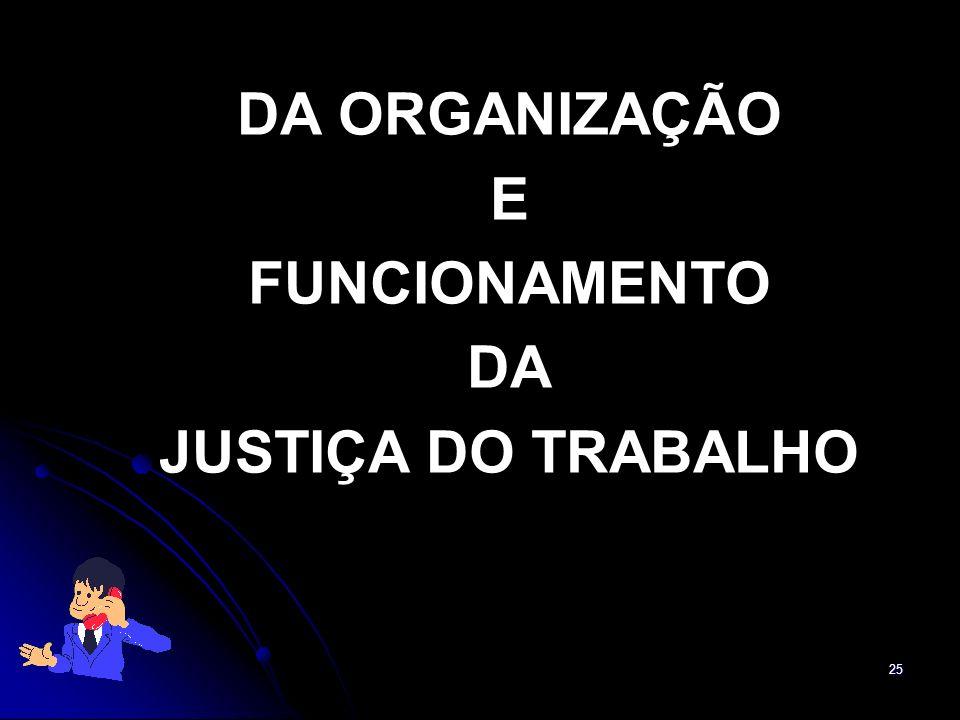 DA ORGANIZAÇÃO E FUNCIONAMENTO DA JUSTIÇA DO TRABALHO