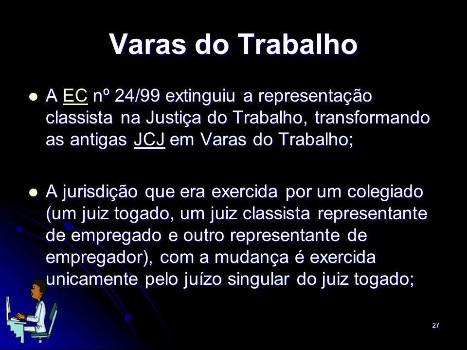Varas do Trabalho A EC nº 24/99 extinguiu a representação classista na Justiça do Trabalho, transformando as antigas JCJ em Varas do Trabalho;